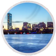 Icy Boston At Dawn Round Beach Towel by Mike Ste Marie