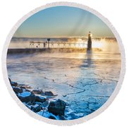 Icy Morning Mist Round Beach Towel