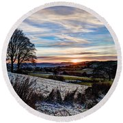 Icy Sunset Round Beach Towel by Beverly Cash