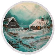 Icy Twilight Round Beach Towel