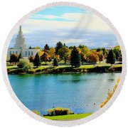 Round Beach Towel featuring the photograph Idaho Falls Temple by Benjamin Yeager