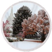 Idaho Falls Temple Winter Round Beach Towel