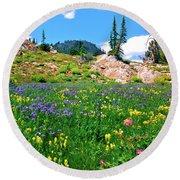 Idaho Mountain Wildflowers Round Beach Towel