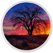 Idaho Winter Sunset Round Beach Towel by Greg Norrell