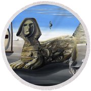 Round Beach Towel featuring the painting Idolatary Conformity by Ryan Demaree