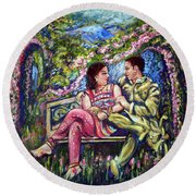 Round Beach Towel featuring the painting If I Will Get Your Love by Harsh Malik