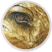 Round Beach Towel featuring the painting If You Could See What I've Seen... by Barbara Jewell