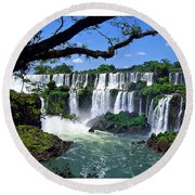 Iguazu Falls In Argentina Round Beach Towel by Joan  Minchak