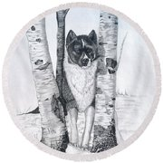 Ihasa In The Woods Round Beach Towel