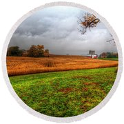 Illinois Farmland I Round Beach Towel