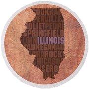 Illinois State Word Art On Canvas Round Beach Towel