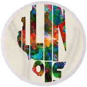 Illinois Typographic Watercolor Map Round Beach Towel