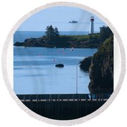 Illusion At Beaver Harbour Light Round Beach Towel