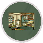 Illustration Of A Colorful Swedish Kitchen Round Beach Towel