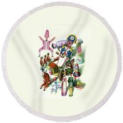 Illustration Of A Group Of Children's Toys Round Beach Towel