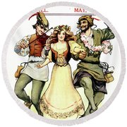 Illustration Of Medieval May Day Folk Round Beach Towel