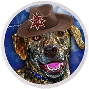 Round Beach Towel featuring the digital art I'm A Canine Community Reporter by Kathy Tarochione