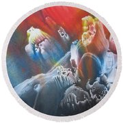 Round Beach Towel featuring the painting Imagination 1 by Vesna Martinjak