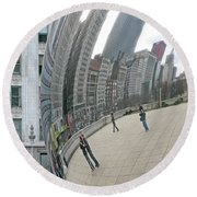 Round Beach Towel featuring the photograph Imaging Chicago by Ann Horn