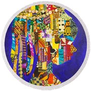 Round Beach Towel featuring the tapestry - textile Imani by Apanaki Temitayo M