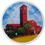Immaculate Conception Cathedral Round Beach Towel