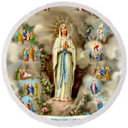 Immaculate Conception Round Beach Towel