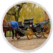 Immaculate Horse And Carriage Bruges Belgium Round Beach Towel