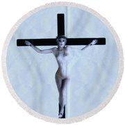 Immerse Crucifix Round Beach Towel