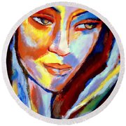 Round Beach Towel featuring the painting Immersed by Helena Wierzbicki