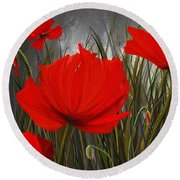 Immortal Blooms - Red And Gray Art Round Beach Towel