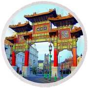 Imperial Chinese Arch Liverpool Uk Round Beach Towel