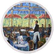 Impresionnist Cafe By Prankearts Round Beach Towel