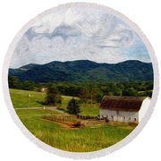 Round Beach Towel featuring the painting Impressionist Farming by John Haldane