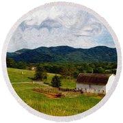Impressionist Farming Round Beach Towel by John Haldane