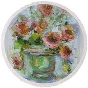 Round Beach Towel featuring the painting Impressionist Roses 2 by Mary Wolf