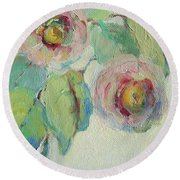 Impressionist Roses  Round Beach Towel