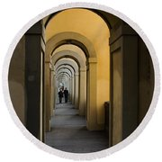 In A Distance - Vasari Corridor In Florence Italy  Round Beach Towel