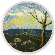 In Between A Rock And A Heaven Place Round Beach Towel