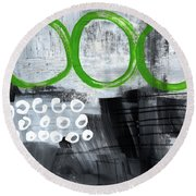 In Circles- Abstract Painting Round Beach Towel