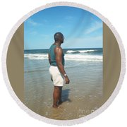 In Deep Thought Round Beach Towel
