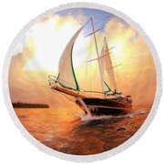 In Full Sail - Oil Painting Edition Round Beach Towel by Lilia D