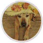 In Her Easter Bonnet Round Beach Towel