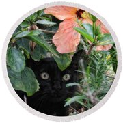In His Jungle Round Beach Towel by Peggy Hughes