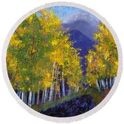 Round Beach Towel featuring the painting In Love With Fall River Road by Margaret Bobb