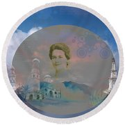 Round Beach Towel featuring the digital art In The Air by Cathy Anderson