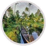 In The Backwaters Of Kerala Round Beach Towel