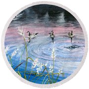 Round Beach Towel featuring the painting In The Dusk by Melly Terpening