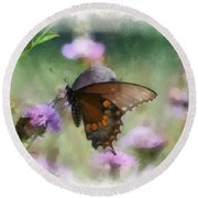 Round Beach Towel featuring the photograph In The Flowers by Kerri Farley