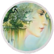 In The Fluter Of Wings-in The Silence Of Thoughts Round Beach Towel