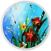 Round Beach Towel featuring the painting In The Garden by Kume Bryant